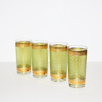 Vintage Rock Tumbler Glasses Green Weave Pattern Green and Gold Glasses Bar Glasses Hollywood Regency Glassware