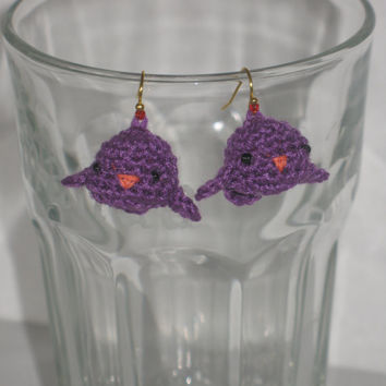 Bird Earrings Crocheted Amigurumi Purple Birdies