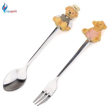 2Pcs Cute Stainless Steel Coffee Teaspoons Forks Dinneware Set Cartoon Handle Decor Cake Dessert Fork Kids Children Tableware