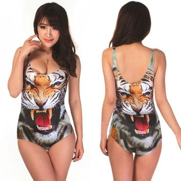 Bikini Digital Print Girl's Swimwear Vest Digital Printing Cartoon Pattern Camisole Bikini Bodysuit Female Summer Beach Wear
