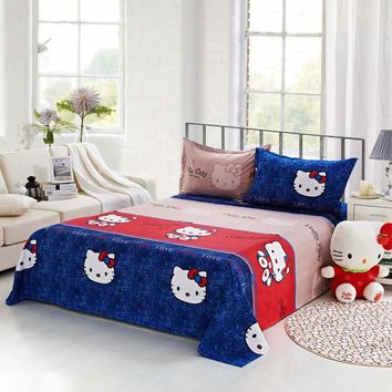 Home Textile Polyester Cartoon Blue Bed Fitted Sheet Kid Adult Teen Bedding Mattress Cover King Full Twin Single