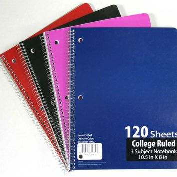 3 Subject Notebook College Ruled - 120 Page - CASE OF 36