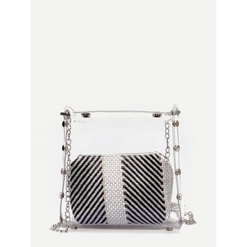 Black And White Clear Chain Bag With Inner Clutch