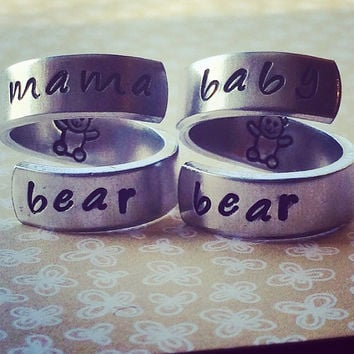 mama bear baby bear  mom daughter two aluminum spiral style  rings 1/4 inch teddy bear stamped on the inside