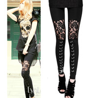 2016 autumn NEW punk gothic rock legging sexy lace splice vestidos femininos american apparel Leggings