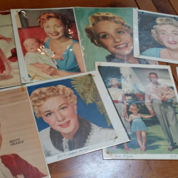 Set of 16 1950s Female Starlets Movie Star Celebrity Photos Clipped Magazine Pages Great for Framing Decor Altered Art Collage Mulitmedia