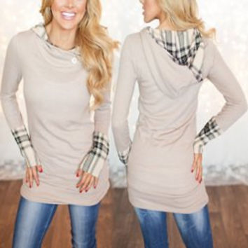 Plaid Paneled Hooded Long Sleeve Shirt