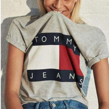 PEAPIH3 Tommy Hilfiger Tommy men and women classic tee shirt T-shirt