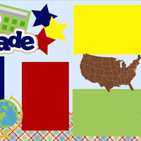 NEW!! First Day of Fourth (4th) Grade 2-page 12 X 12 Premade Scrapbook Layout