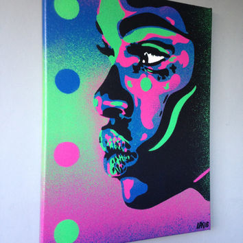 African Woman face painting,kiss 2 series,stencil art,spray paint art,canvas,beauty,street art,handmade,urban,graffiti,home,pop art,modern