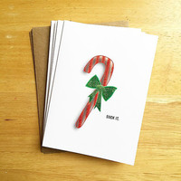 Small Card Pack of 5 or Pack of 10-Funny Glitter Candy Cane Christmas Card - Suck It - 4x5.5. Holiday Card. Funny Christmas Cards.