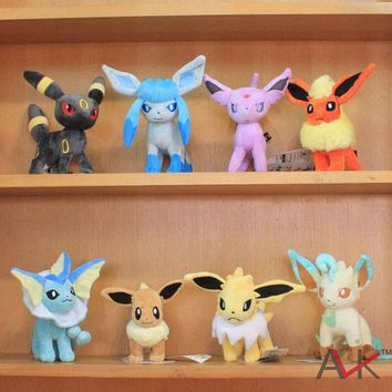 Pikachu Monster Standing Eevee Monster Espeon Jolteon Umbreon Vaporeon Flareon Glaceon Leafeon Plush Toys Dolls 14~19cm 5pcs/lot