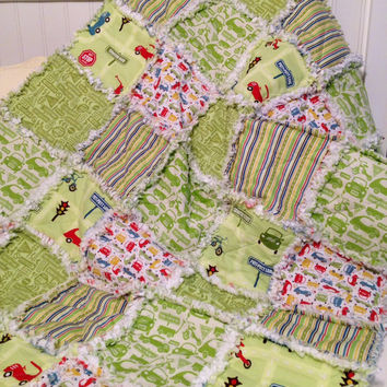 Green Baby Boy Rag Quilt, Crib Quilt, Toddler Quilt, Nursery Blanket, Cruiser Blvd, Riley Blake 35 X 48.Handmade, Ready to Ship