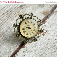 SALE FREE SHIPPING ring. Steampunk vintage watch face ring, gothic, victorian, retro style jewelry. Tracery brass ring, Ooak gift idea for h