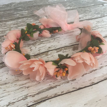 Shades of Peach - Whimsy Flower Crown
