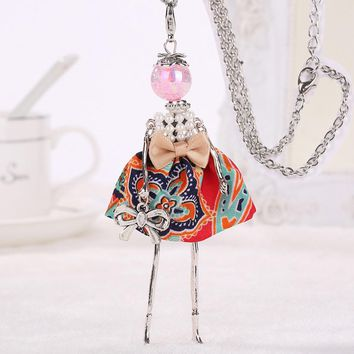 YLWHJJ new women doll cute necklaces & pendants dress alloy Statement necklace girl handmade bowknots brand fashion jewelry