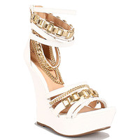 Liliana Ellie high #heel #shoes white and gold