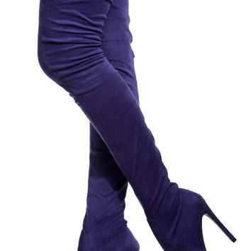 Purple Faux Suede Thigh High Pointed Toe Boots @ Cicihot Boots Catalog:women's winter boots,leather thigh high boots,black platform knee high boots,over the knee boots,Go Go boots,cowgirl boots,gladiator boots,womens dress boots,skirt boots.