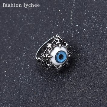 fashion lychee Vintage Devil Dragon Blue Red Eye Women Mens Finger Ring Metal Personalized Jewelry Accessories