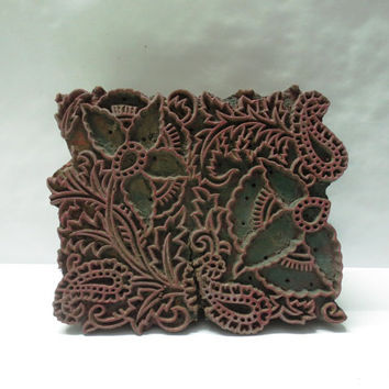 Vintage Indian wooden hand carved textile printing on fabric block / stamp fine art carving floral paisley design print large