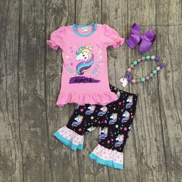 baby girls summer unicorn outfits kids unicorn top with unicorn ruffle capris clothes girls summer clothes with accessories
