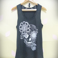 Sale Sugar skull tank top, Vintage flower skull shirt, light black skeleton shirt Women shirt, teen girls top size S,M,L tshirt blouse