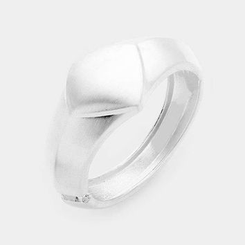 Brushed Metal Hinged Bangle Bracelet