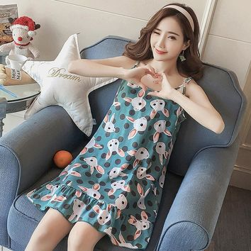 Girls Spaghetti Strap nightdress Loose home dress lovely princess cartoon student dress 2018 Women Cotton Nightgowns Nightdress