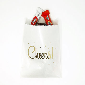 White and Gold Cheers Party Favor Gift Bags Popcorn Treat Bags- 48 count