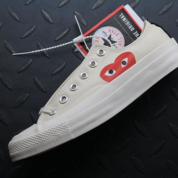 Converse Cdg Play Addict Fashion Canvas Flats Shoes Beige