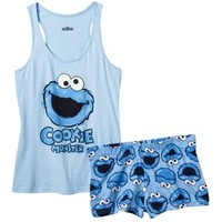 Sesame Street Juniors' Tank/Short Pajama Set - Blue Cookie Monster