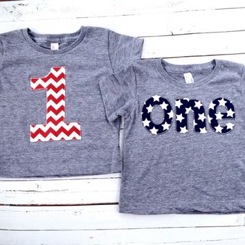 one Birthday Shirt boys 1st birthday red white blue American Flag USA America stars stripes Triblend grey 4th of July Military Nautical