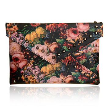 Large Envelop Floral Studded Clutch
