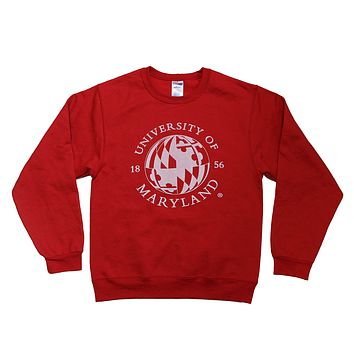 University of Maryland Flag Globe in White (Red) / Crew Sweatshirt
