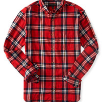 Long Sleeve Plaid Poplin Woven Shirt