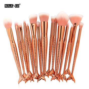 Full Styel Fish Makeup Brushes Set Blending Powder Contour Concealer Blush Eyeshadow Face Eyes Cosmetic Make Up Brush Tool Kits