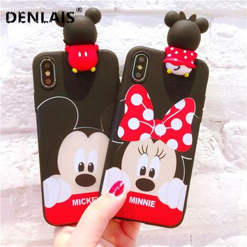 Cute Black Silicone Cartoon Case 3D Minnie Mickey Mouse Love Soft Phone Case For iPhone 5 5S 6 6S Plus 7 8 Plus X Soft TPU Cover