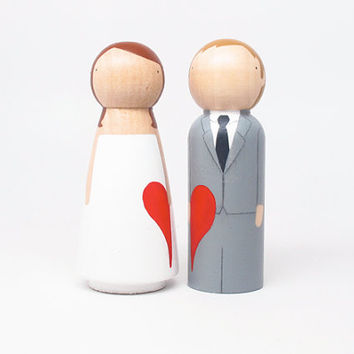 Semi-Custom WITH A HEART - The Original Peg Doll Wedding Cake Toppers