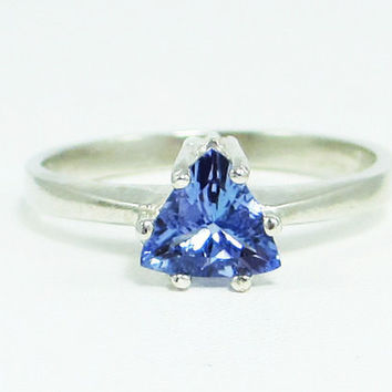 Tanzanite Trillion Ring Sterling Silver, Natural Tanzanite Ring, Sterling Silver Tanzanite Ring, Trillion Tanzanite Ring, 925 Ring