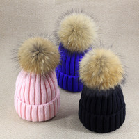 Winter hats for women Solid Volume Knitting Cap fox fur ball Bulb Wool knitted Hat Woman  girl 's Thickening   cappello vogue
