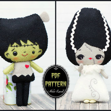 PDF Pattern. Frankenstein and the bride of Frankenstein pattern.