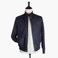 Navy suede zipped Valstarino bomber jacket, unlined | No Man Walks Alone