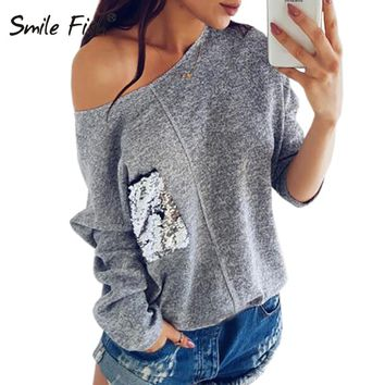 Knitted Sweatshirt Female Slash Neck Sequined Pullover Knitting Warm Winter Plus Size Jumper Women Hoody Pocket Autumn Top GV072