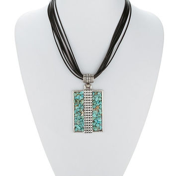 Turquoise Tiered Rectangle Faux Multilayered Necklace