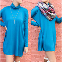 Marble Canyon Teal Turtleneck Dolman Sleeve Tunic