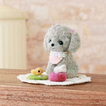 Japanese Needle Wool Felt DIY Kit - Kawaii Toy Poodle Dog, Chick - Hamanaka Wool Kit, Japanese Felt Kits - Easy Felting Tutorial Supply, F09