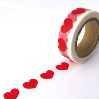 Washi Tape - Big Red Love Hearts - 15mm x 10 metres - High Quality Masking Tape