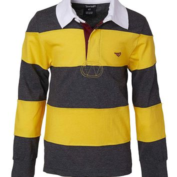 Sportoli Boys 100% Cotton Wide Striped Long Sleeve Polo Rugby Shirt