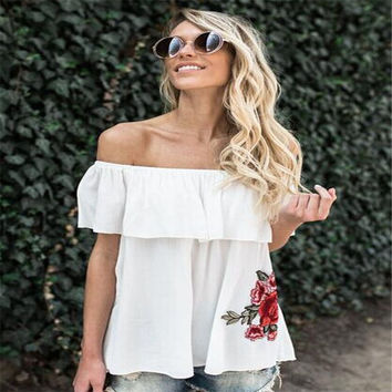 Women Super Chic White Ruffle Off the Shoulder Blouse with Floral Embroidered Accent