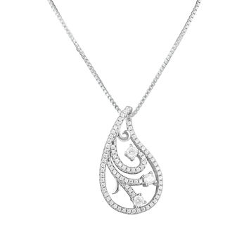 Sterling Silver Cz Filigree Slider Necklace 18""